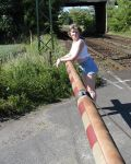 Chrissie At The Railway Crossing